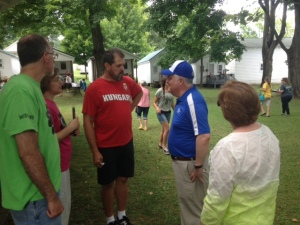 Len chatting with John and Trish Fraser (OMS, Hungary) and John and Beth Neihof (Wesley Biblical Seminary, Jackson, MS)