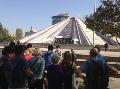 "Joined a walking tour - one stop was Tirana's ""pyramid"""